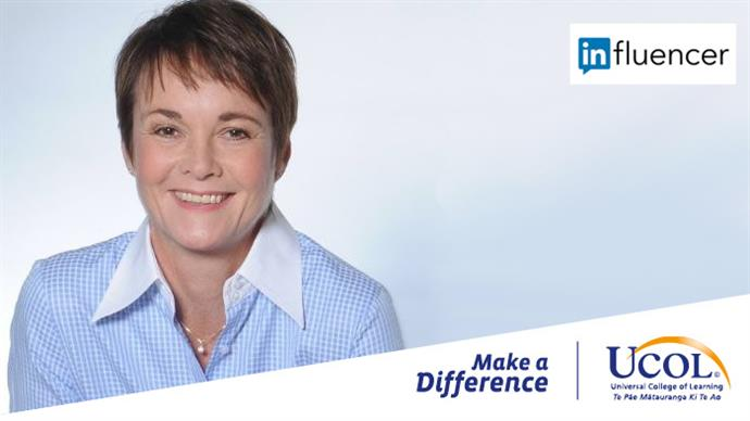 A promotional banner featuring a photograph of Linda Coles in context of %22Make a difference%22 at %22UCOL%22