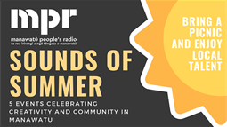 A promotional banner for MPR Manawatū People's Radio Sounds of Summer concert series in Manawatu in 2019.