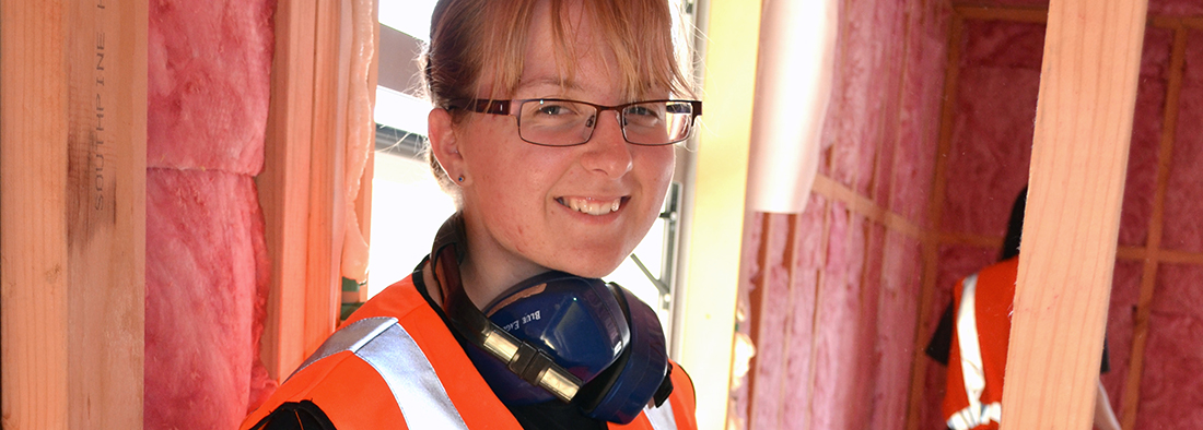 A lady studying construction at UCOL