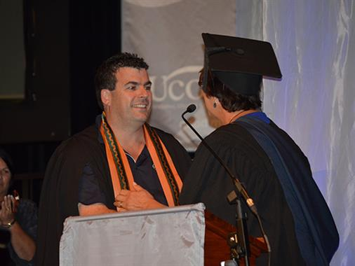 UCOL Council Honours Award winner receiving his award at Graduation.