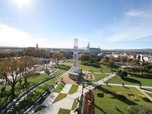 A birds-eye view of The Square in Palmerston North