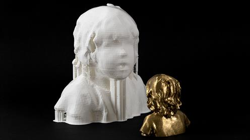 A photograph of the award-winning 3D-printed bust and miniature gold painted version by Kathryn Wightman. Image courtesy of Sarjeant Gallery.