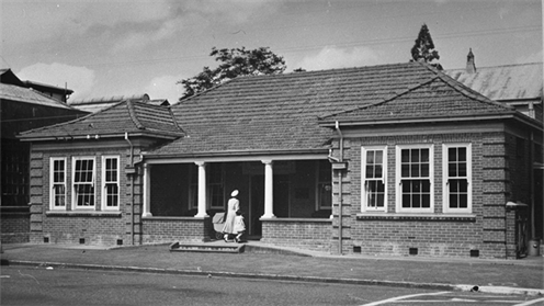 A photograph of the King Street Plunket Rooms taken in 1950. This building is part of UCOL's campus. Image is courtesy of Palmerston North City Council/Manawatu Heritage.