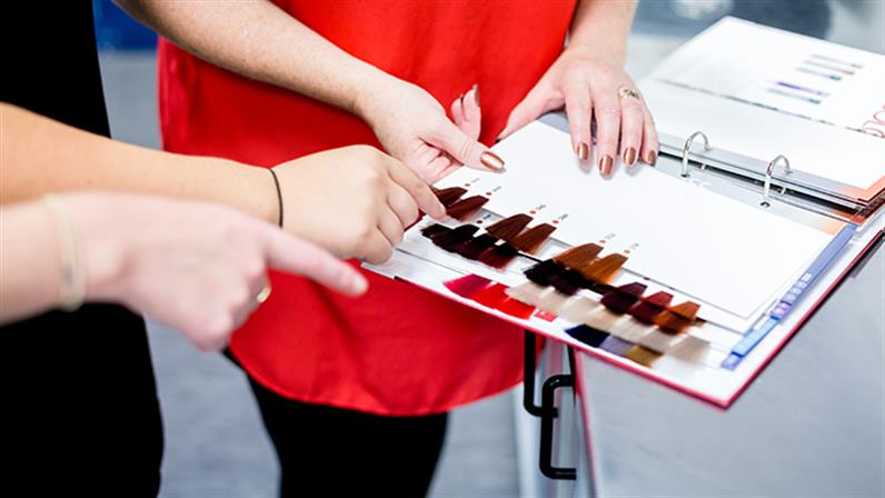 Looking at colour samples