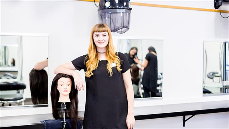 A hairdressing student at UCOL in Palmerston North