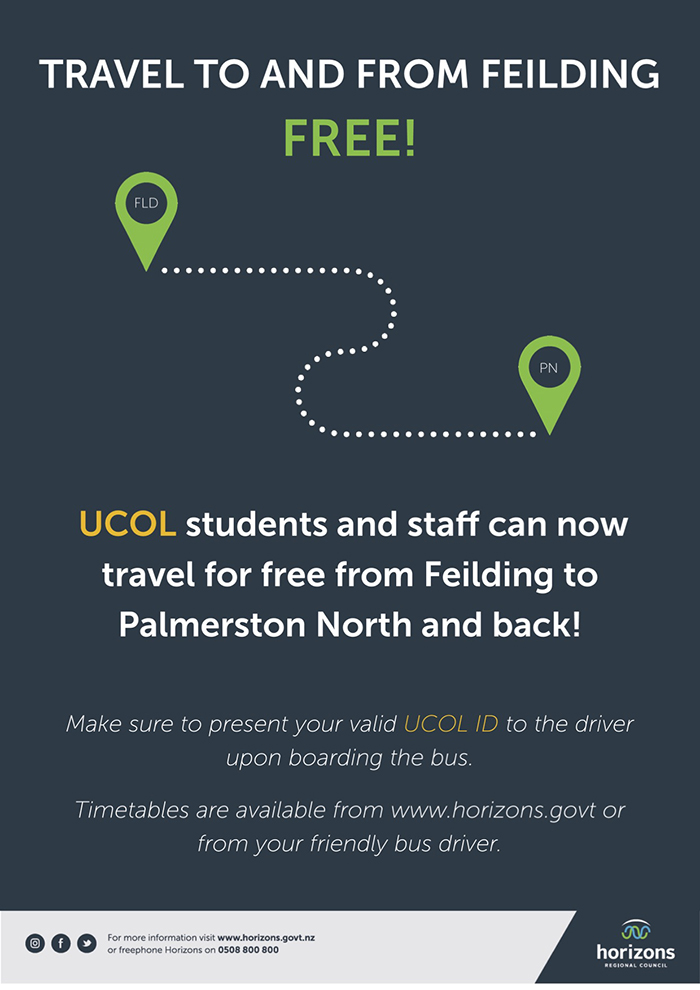 A promotional poster for the free bus service to Feilding for UCOL students