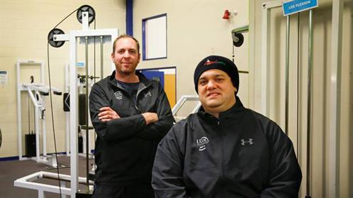 A photograph of UCOL Exercise Graduate Wade Monteba and UCOL Senior Lecturer - Exercise and Wellness, Jon Bailey in a gym.