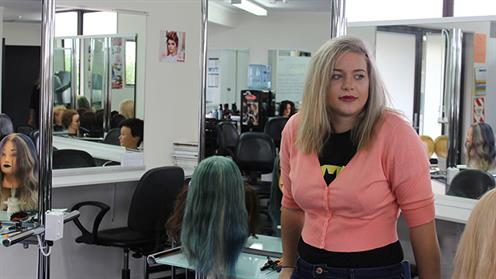 A photograph of UCOL hairdressing student Ashlee Chapman-Burcher.